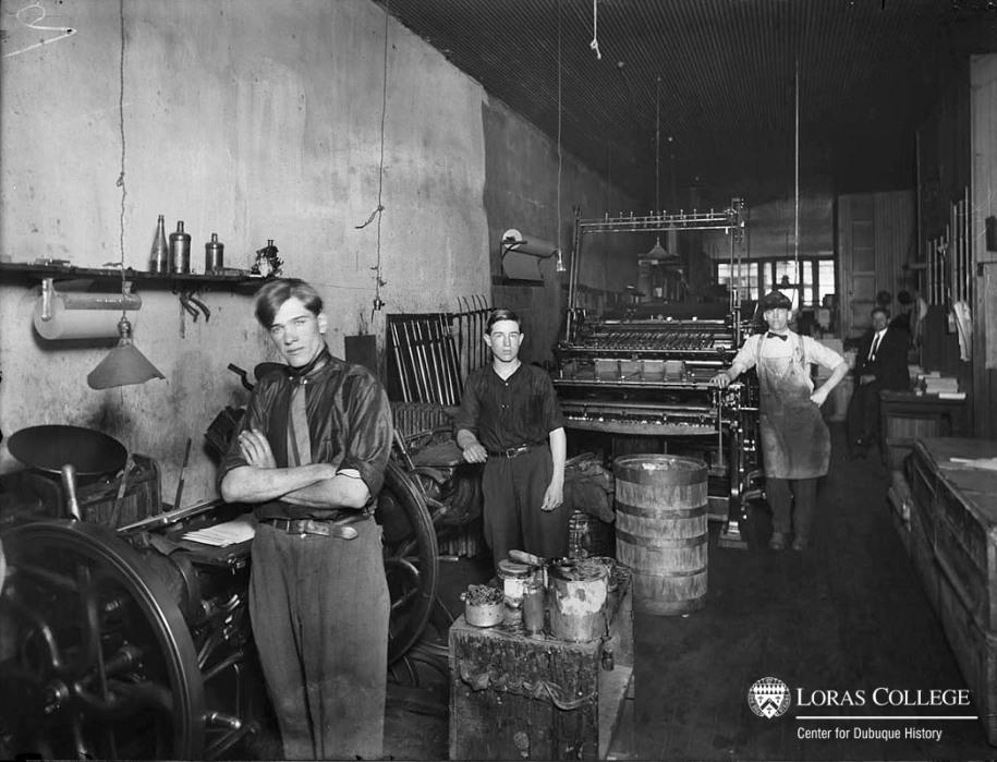 Print shop, 1912