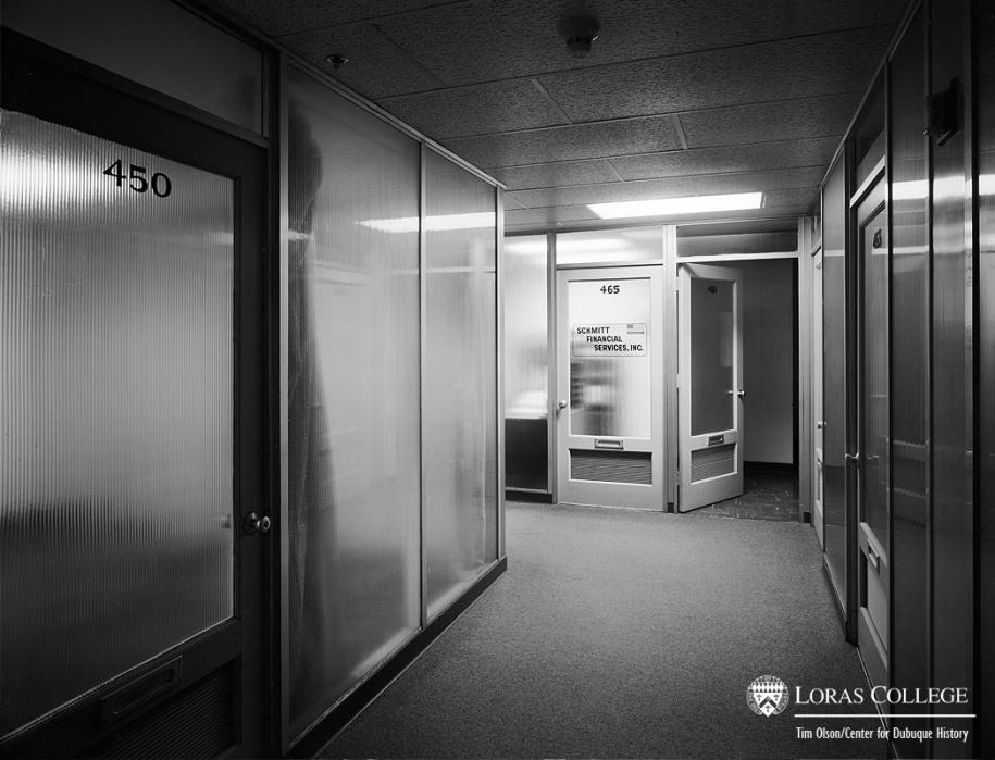 Fourth floor hallway, Fischer Building, 2012