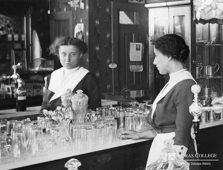 Woman working at a soda fountain