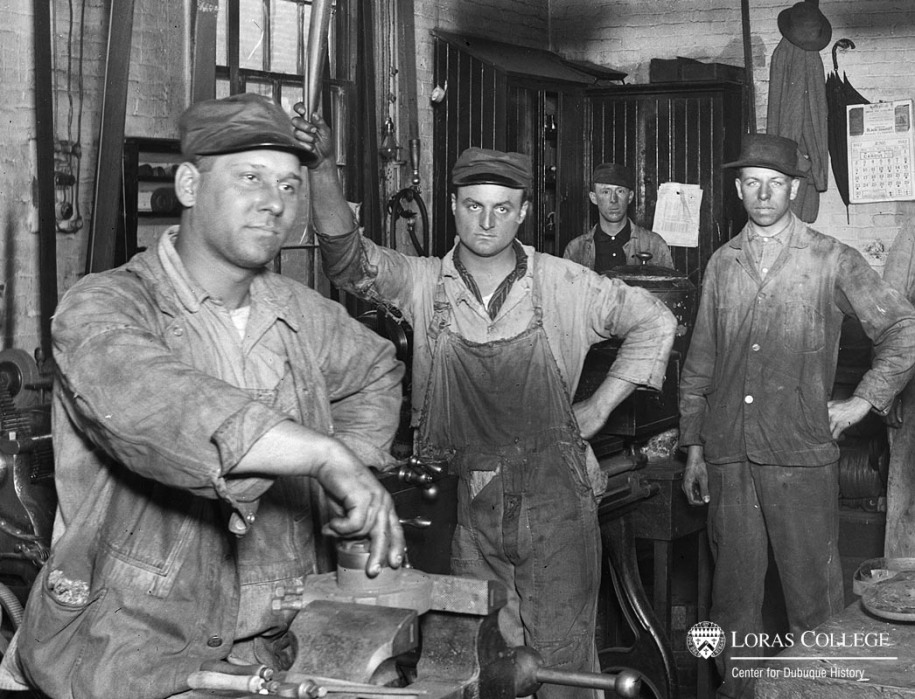 Men working at the Milwaukee Railroad Shops