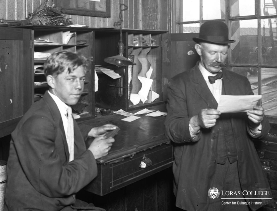 Men working in the Milwaukee Railroad Shops office