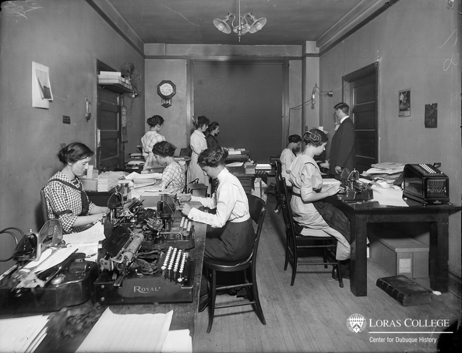 At one time most clerical workers were men. In 1870 men filled almost 98% of the clerical jobs available. As recently as 1910 men still held 66% of these jobs, though women were steadily moving into the clerical labor force. (Office in the B & I Building)